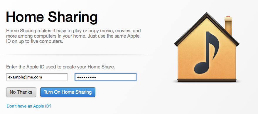 Setting up Home Sharing in iTunes