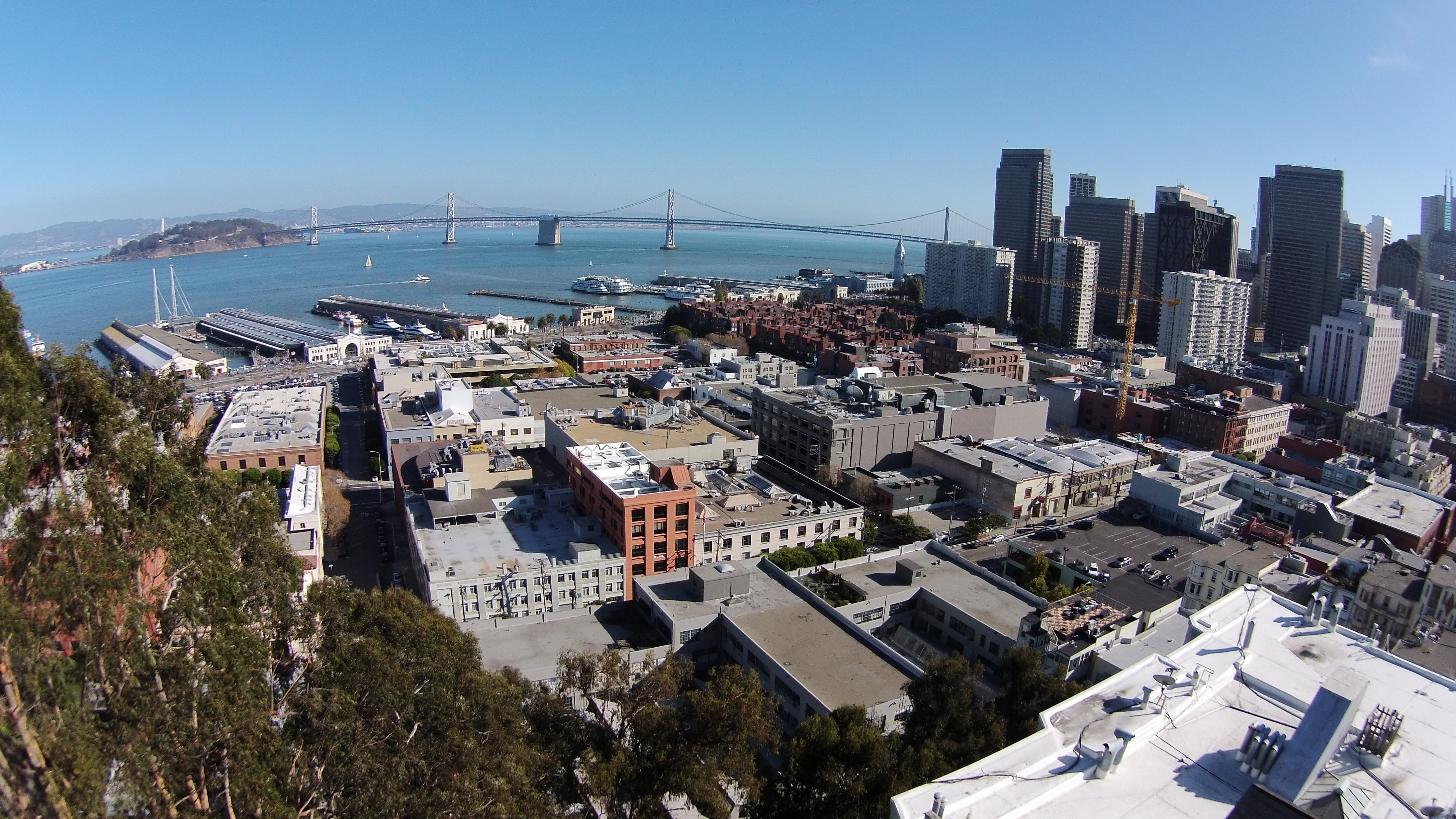 A photo of the Bay Bridge taken with the Phantom 2 Vision above San Francisco's Telegraph Hill. Photo by Signe Brewster
