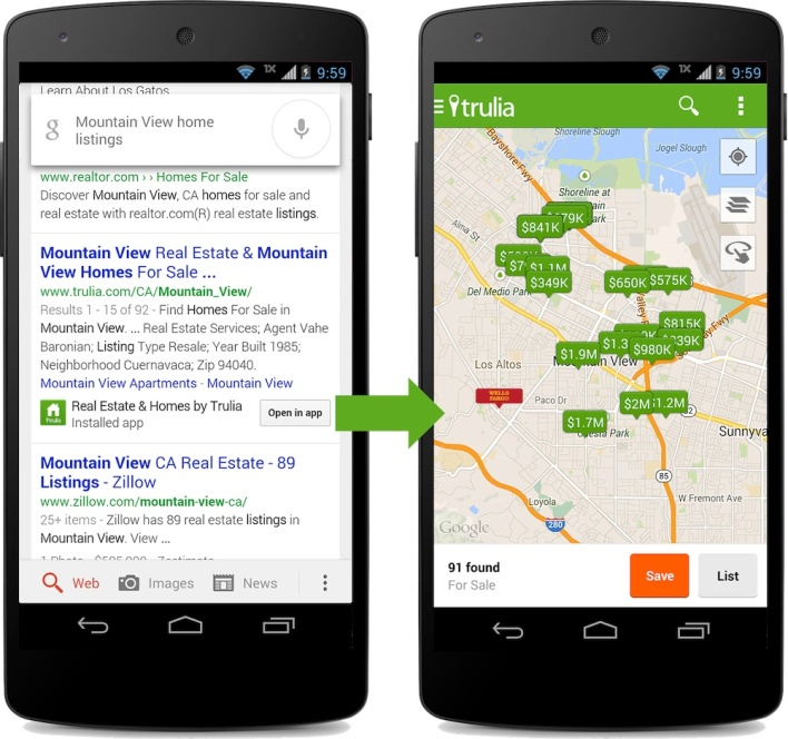 Google's in-app search for mobile apps.