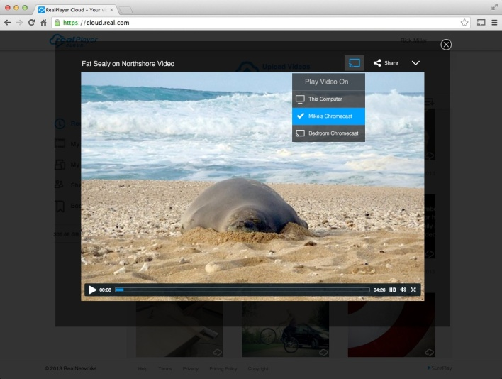 Chromecasting from the RealPlayer Cloud web app.