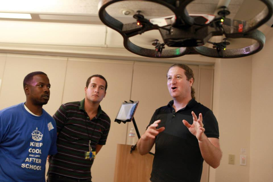 RobotsLAB CEO Elad Inbar demonstrates the Box kit drone to staff at Twin Rivers Unified School District. Photo courtesy of RobotsLAB