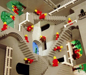 Escher Relativity in Legos
