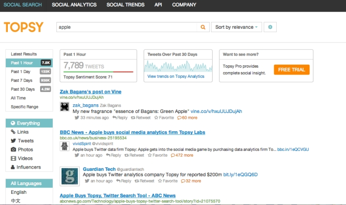 Hey, people are talking about Apple buying Topsy on Twitter!