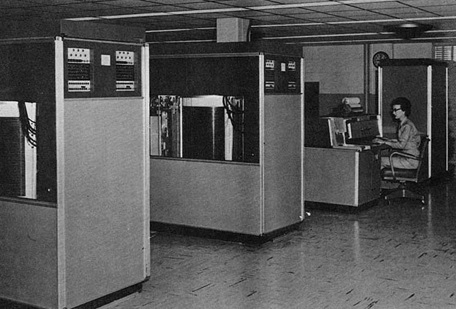 IBM 305 at U.S. Army Red River Arsenal Foreground: Two 350 disk drives. Background: 380 console and 305 processing unit.