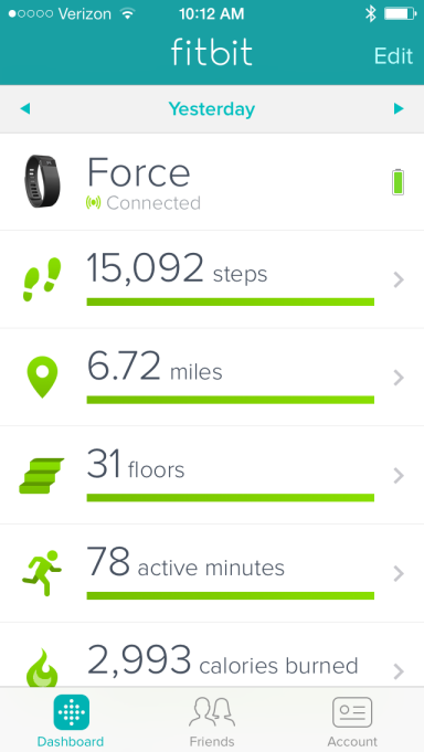 Fitbit Force app