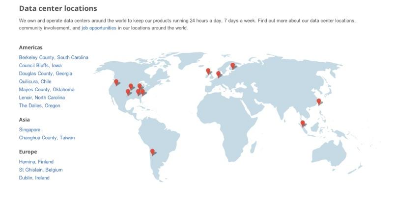 google data center map