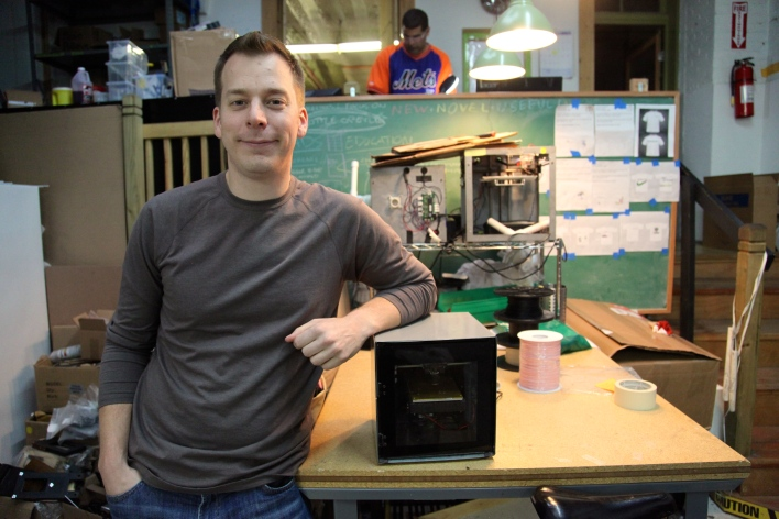 Solidoodle founder Sam Cervantes with the first Solidoodle printer. Photo by Signe Brewster