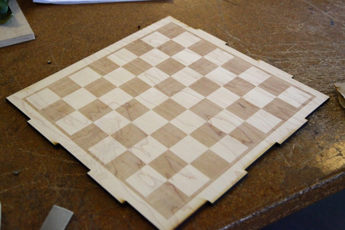 TechShop laser cut chessboard