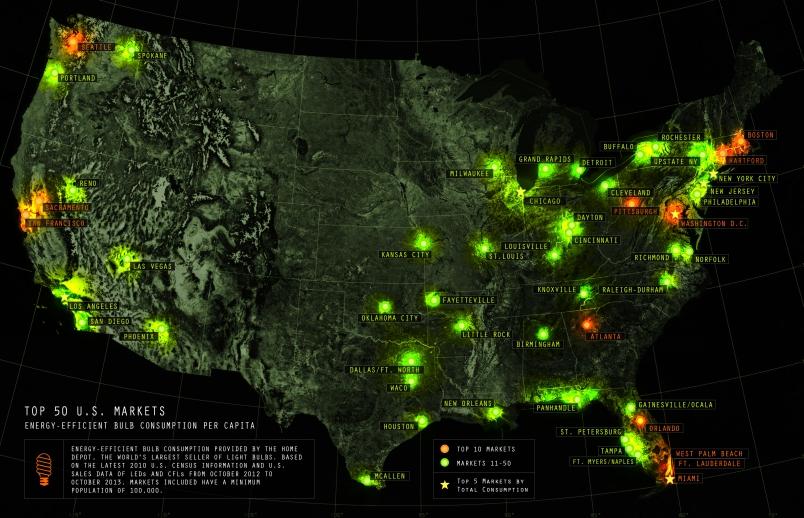 Home Depot light bulb map