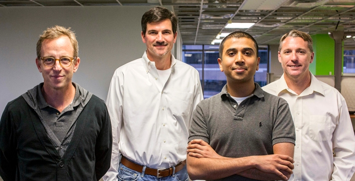 M87 founders (from left): VP Marketing Matt Hovis, CEO David Hampton, Chief Research Officer Vidur Bhargava and CTO Peter Feldman.