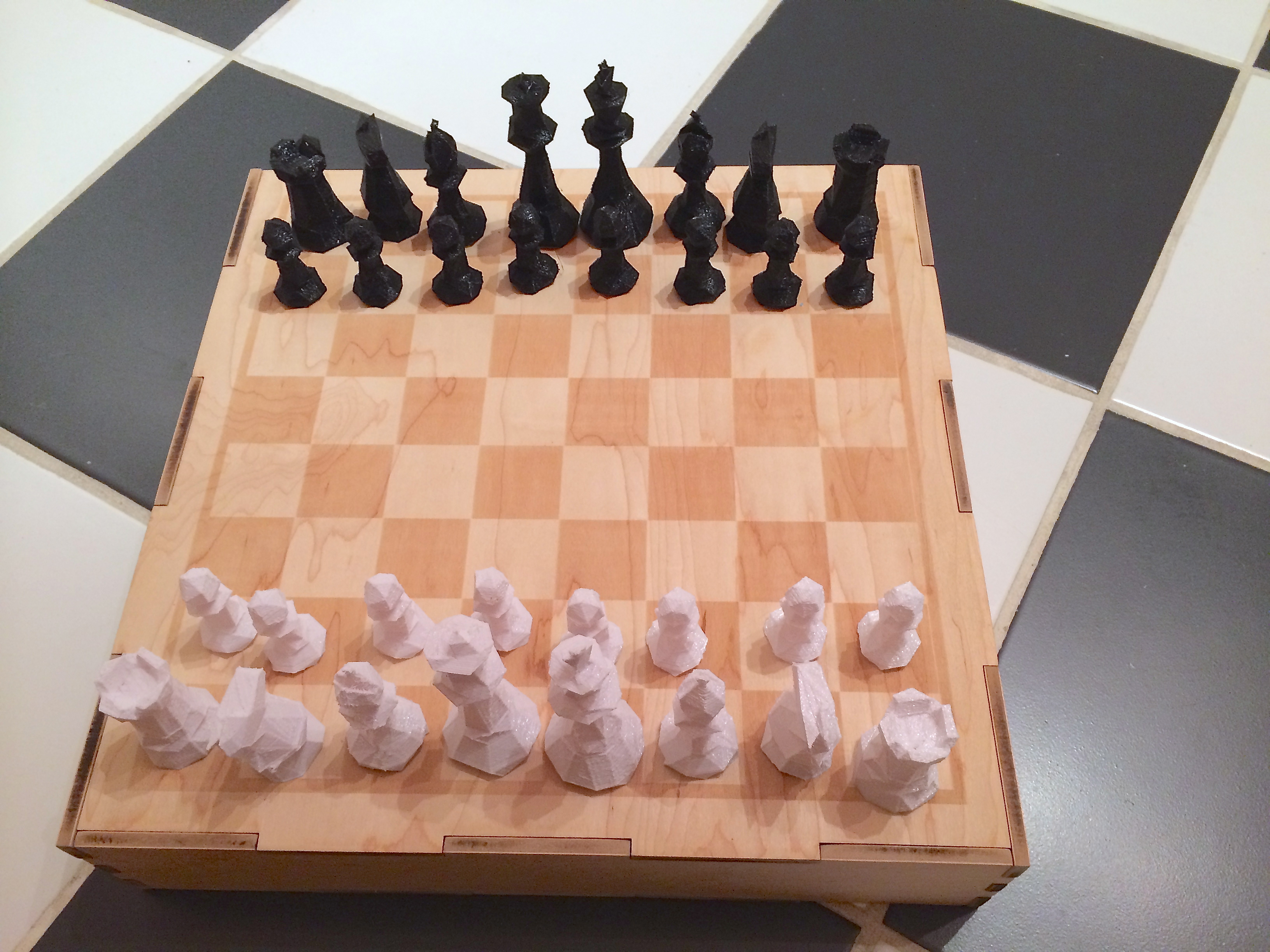 3D printed laser cut DIY chess set