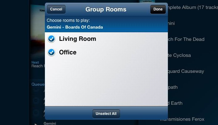 Multiple Sonos speakers within the same network can easily be synched.
