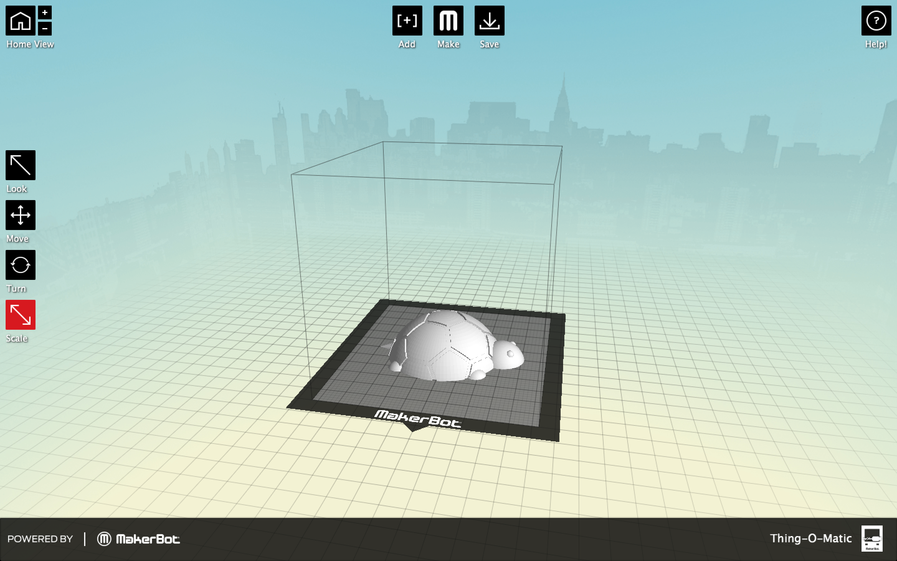 Makerware 3D printing screenshot