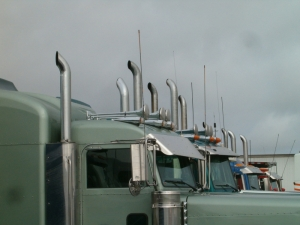 Semi trucks at a truckstop