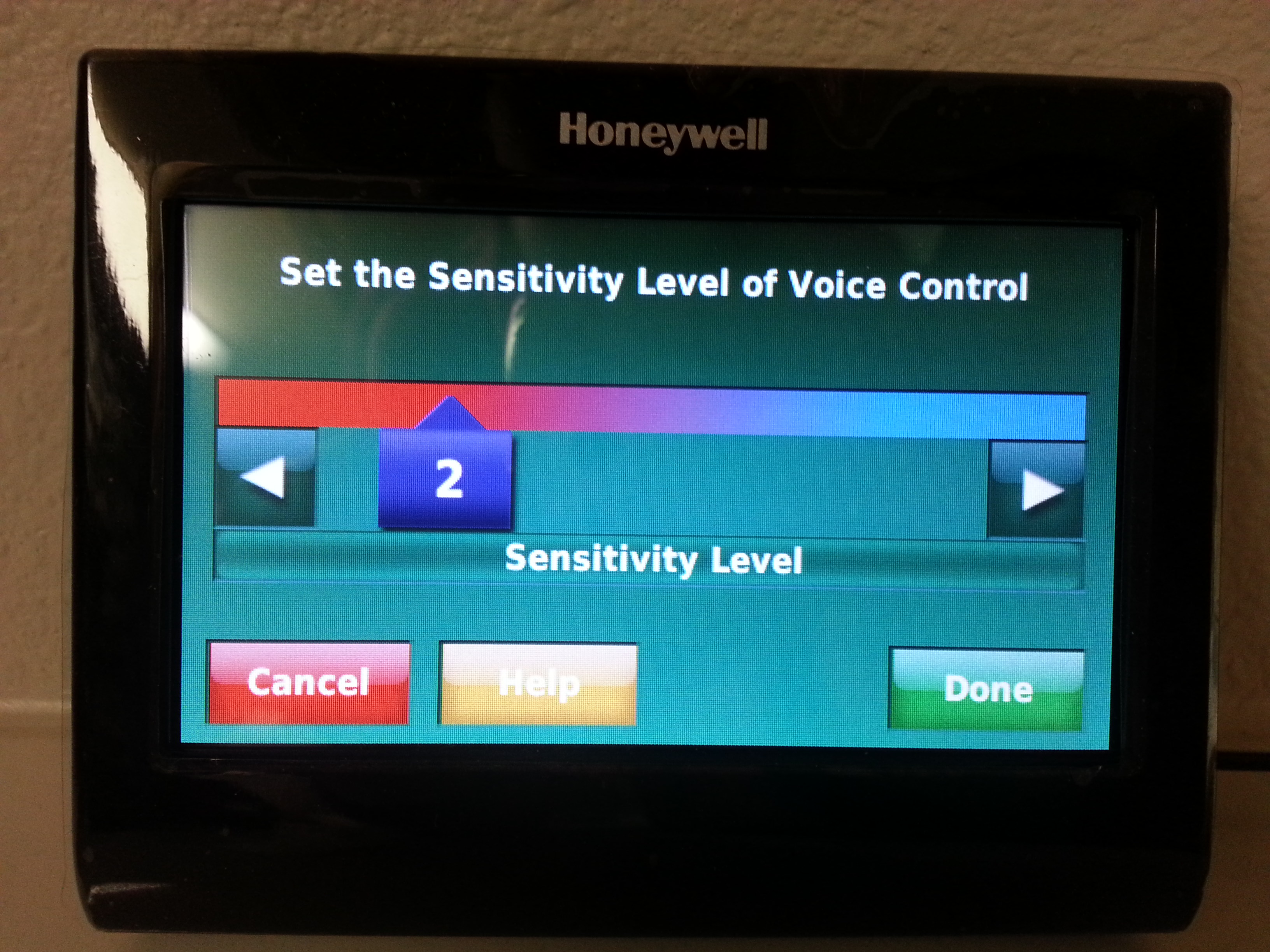 You can set how sensitive the voice recognition portion should be. You can also select the color of the screen to match your decor.