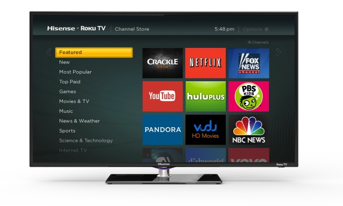Roku on your TV, without the box: The Roku TV offers access to the familiar channel store.