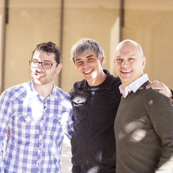 (L to R): Matt Rogers, founder and VP Engineering, Nest; Larry Page, CEO, Google; Tony Fadell, CEO, Nest
