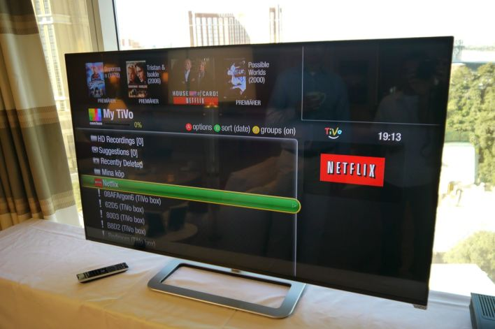 A Com Hem TiVo featuring the Netflix app, as shown at CES 2014 in Las Vegas. Netflix wants to unveil similar partnerships with other operators this year.