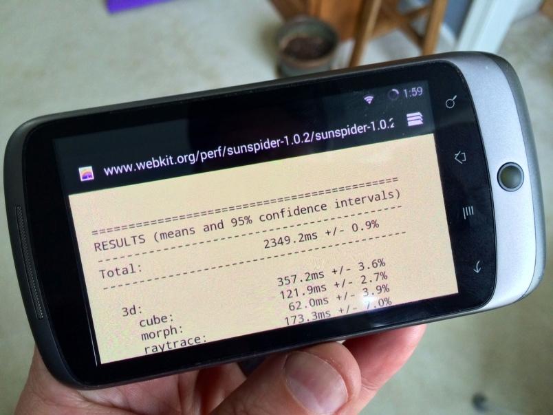Nexus One KitKat Sunspider test