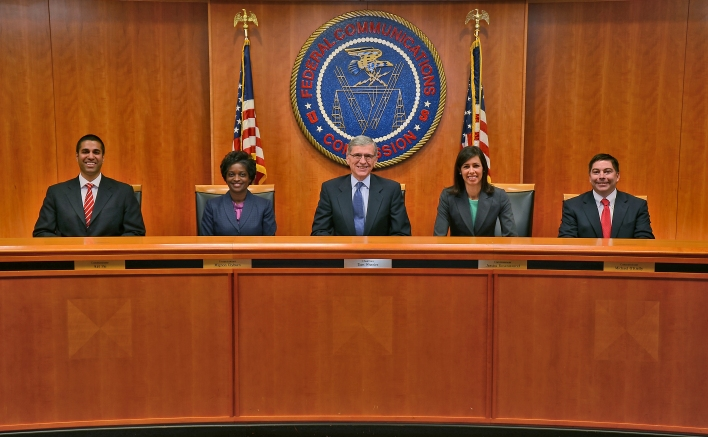 FCC Commissioners (L to R): Commissioner Ajit Pai, Commissioner Mignon Clyburn, Chairman Tom Wheeler, Commissioner Jessica Rosenworcel and Commissioner Michael O'Rielly
