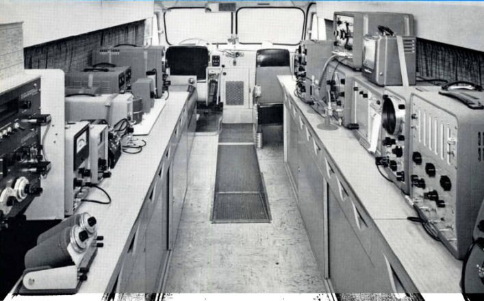"Inside an early ""instrument demonstration bus."" Photo courtesy of HP."