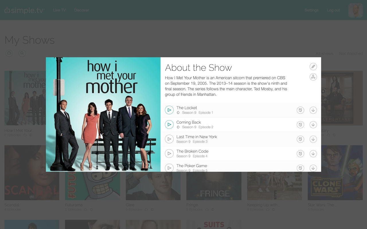 The next version of Simple.tv's web UI will suggest alternative sources for streaming if an episode of a show didn't get recorded.
