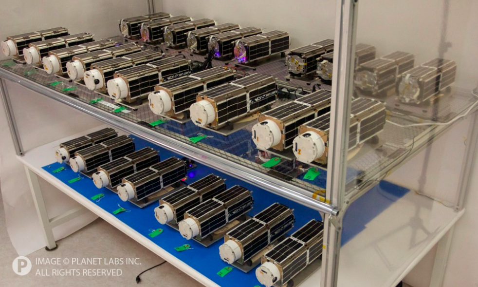 The Planet Labs Flock 1 Dove satellites before launch. Photo courtesy of Planet Labs.
