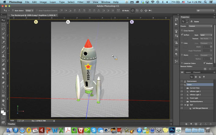 A rocket created from scratch in Photoshop.