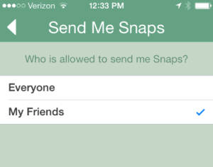 Snapchat spam settings