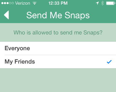 Snapchat spam settings