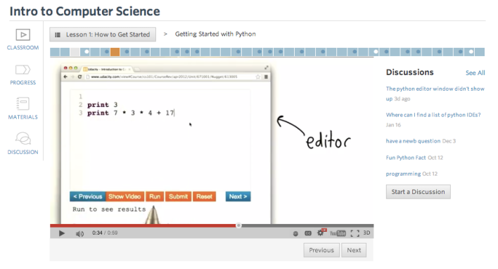 Learning Python in Udacity.