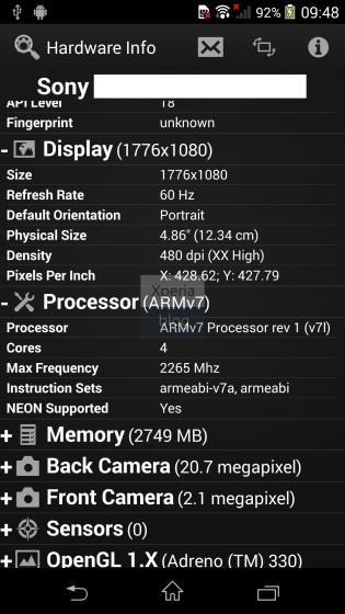 Xperia Z2 specs