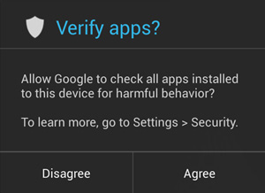 Android Verify Apps screen