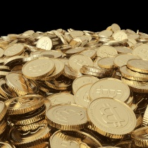 Golden bitcoin coins on balck
