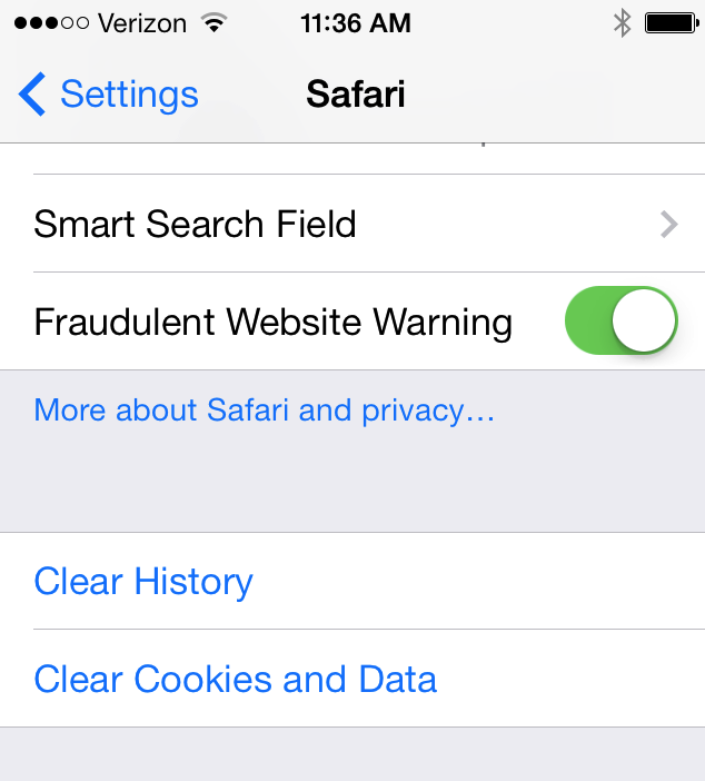 clear iphone safari cache
