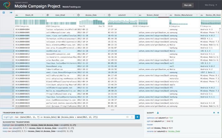 A screenshot of the Trifacta user interface.