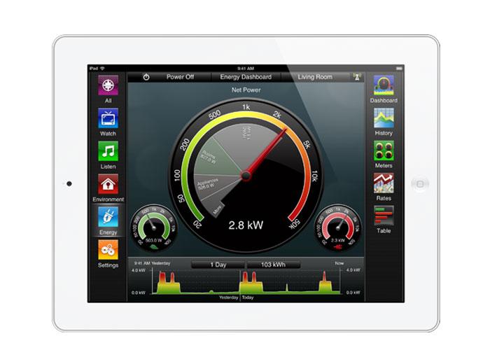 Savant's energy monitoring UI.