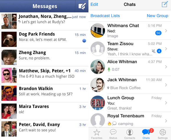 Images courtesy from Facebook messenger (L) and WhatsApp (R).