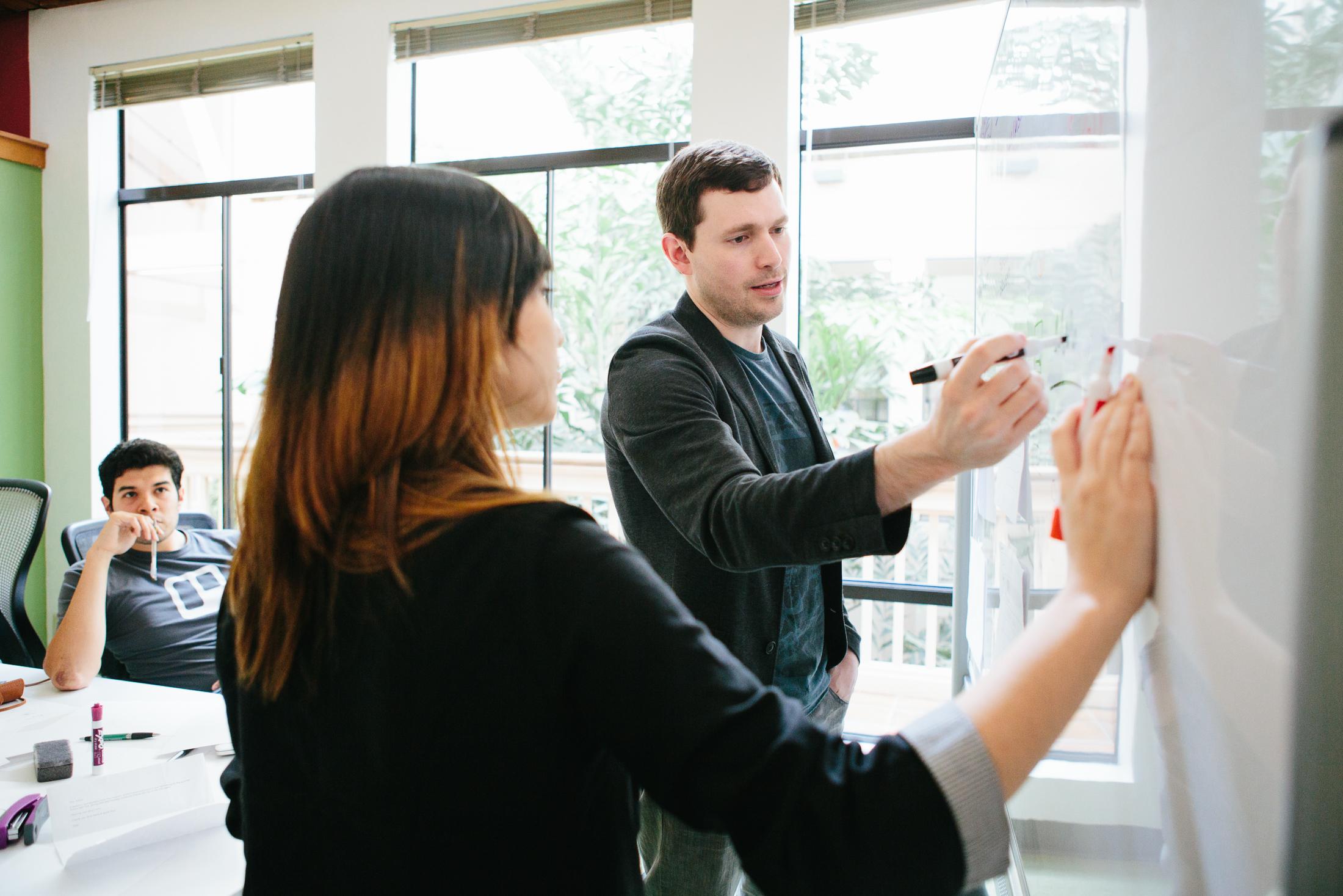 Khan Academy designers Jason Rosoff, Tabitha Yong and  Marcos Ojeda.