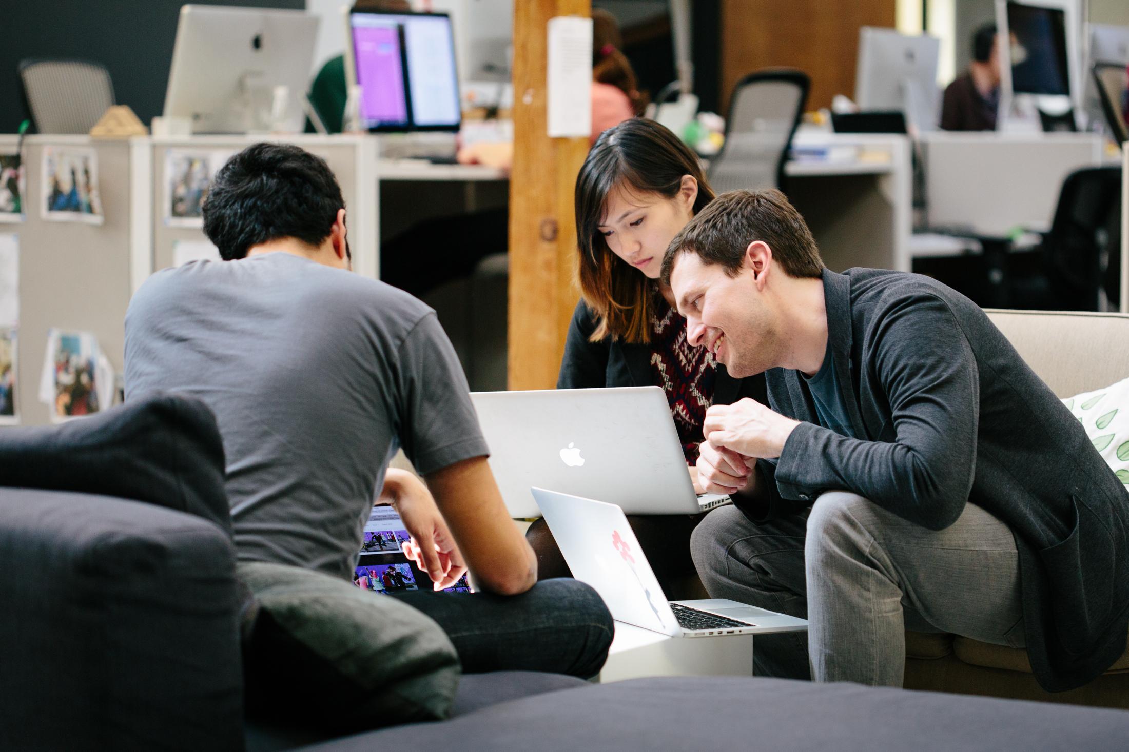 Khan Academy's head designer Jason Rosoff, two designers Tabitha Yong and Marcos Ojeda.