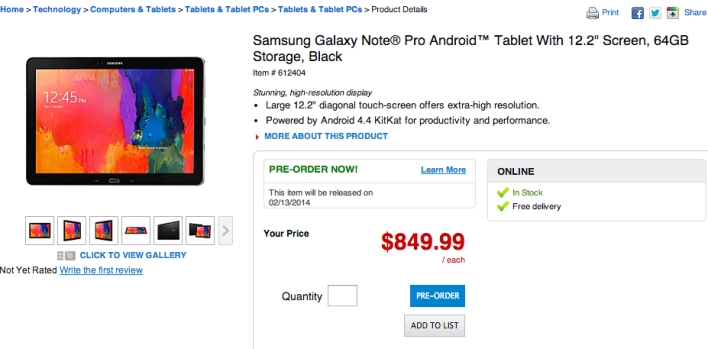 galaxy note pro pricing