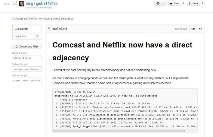 Github Comcast Netflix peering agreement traceroute