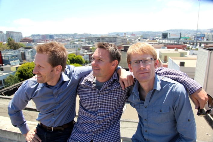 Planet Labs founders Chris Boshuizen, Robbie Schingler and Will Marshall on the roof of their SoMA office. Photo by Signe Brewster.