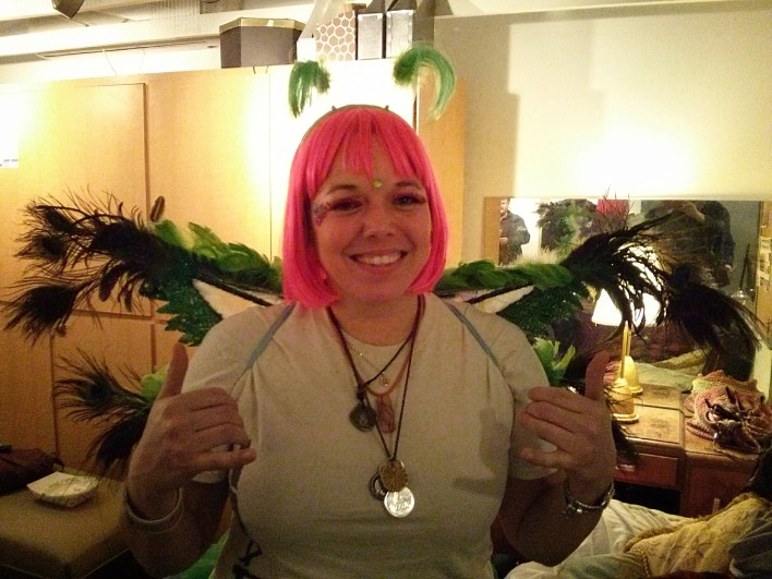 Petersen playing the role of tea fairy at a startup event in Las Vegas.