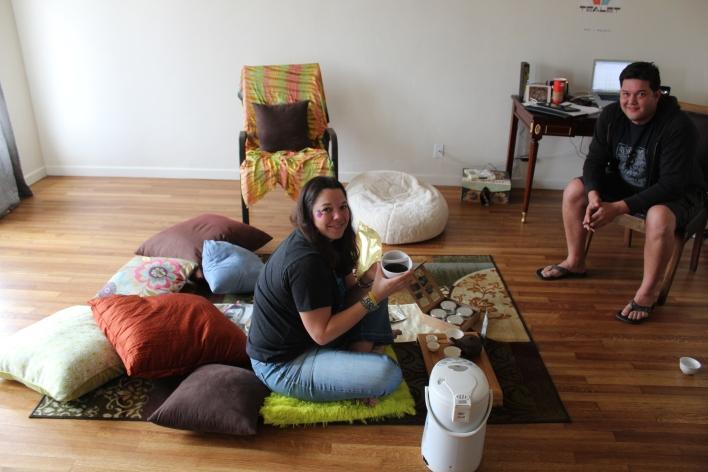 Elyse and Michael Petersen  in their Las Vegas home/office.