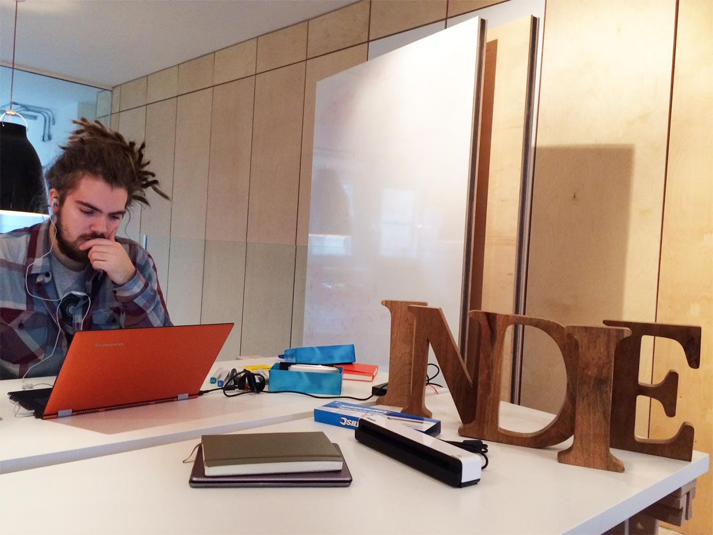 Indie industrial designer Victor Johansson at work in their office. The stealth phone company will be open for crowdfunding soon. Photo courtesy of Indie Phone.