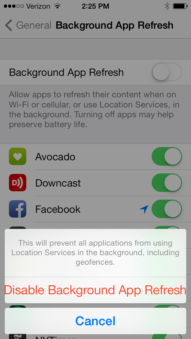 iPhone background app refresh