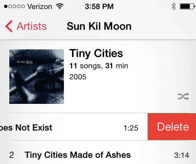 iPhone delete song