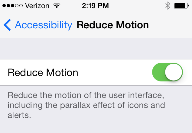 iPhone reduce motion