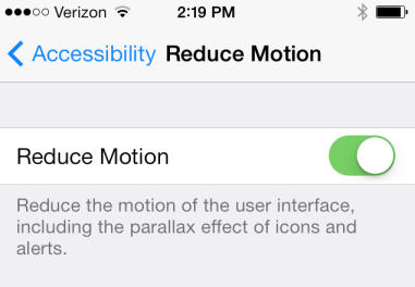 iPhone reduce motion